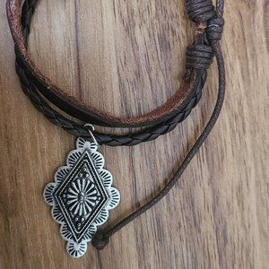 Leather Bracelet With Concho Charm